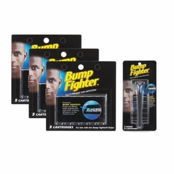 Bump Fighter Set: 1 Razor Handle with 17 Refill Blades + Makeup Blender Stick, 12 Pcs