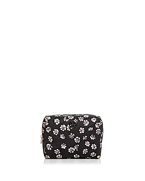 Tory Burch - Printed Nylon Large Brigitte Cosmetic Case (Black Stamped Floral) Cosmetic Case