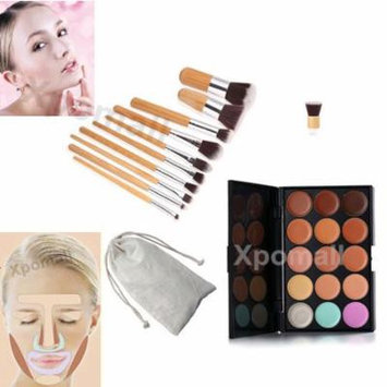 15 Colors Face Contour Cream Makeup Concealer Palette+11PCs Bamboo Brush Set USA