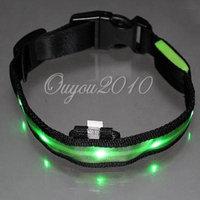 Nylon Safety Flashing Glow Light LED Pet Dog Collar Size XL