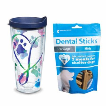 Tervis Project Paws Dog Paws Script Heart 24 oz Tumbler with navy lid with Dental Sticks Minis