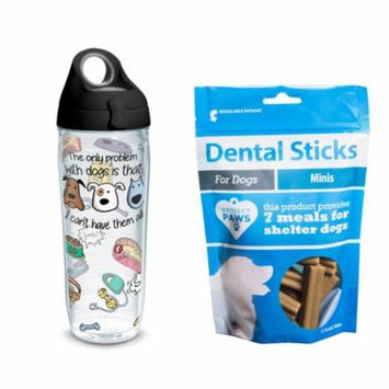 Tervis Project Paws Dog Problems 24 oz Water Bottle with black lid with Dental Sticks Minis