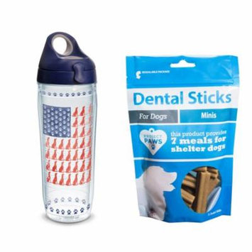 Tervis Project Paws Dog Flag 24 oz Water Bottle with navy lid with Dental Sticks Minis