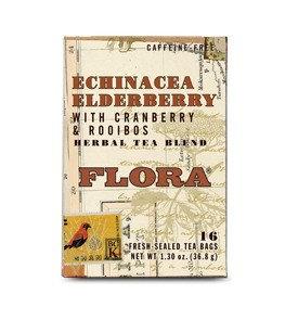 Flora Herbal Tea Blend Echinacea Elderberry with Cranberry & Rooibos 16 Tea Bags