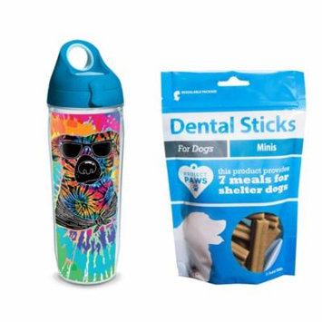 Tervis Project Paws Tie Dye Dog with Sunglasses 24 oz Water Bottle with turquoise lid with Dental Sticks Minis