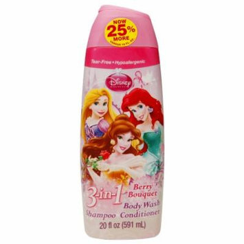 Disney Princess 3-in-1 Body Wash, Shampoo & Conditioner, Berry Bouquet (Pack of 4)