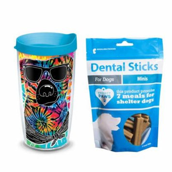 Tervis Project Paws Tie Dye Dog with Sunglasses 16 oz Tumbler with turquoise lid with Dental Sticks Minis