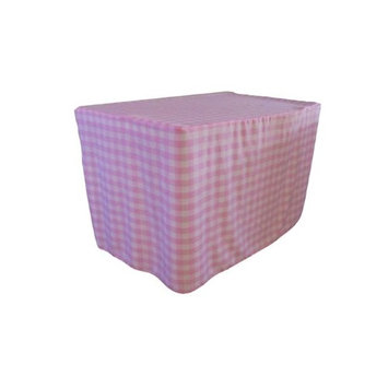 LA Linen TCcheck-fit-48x24x30-PinkK37 Fitted Checkered Tablecloth White & Pink - 48 x 24 x 30 in.