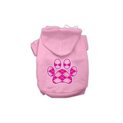 Mirage Pet Products Argyle Paw Pink Screen Print Pet Hoodies Light Pink Size Lg (14)