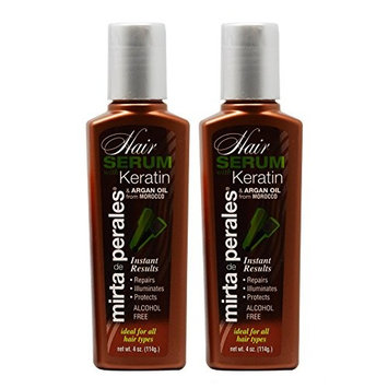 Mirta De Perales Keratin Hair Serum with Argan Oil 4oz Pack of 2