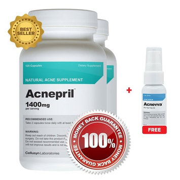Acnepril 2 Pack and 1 Acnevva - Best Acne Pills and Spot Treatment Serum - Best New Acne Supplement