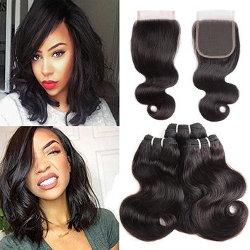 Molefi Brazilian Body Wave Short Human Hair with Closure 3 Bundles Body Wave with Lace Closure Free Part 8A Unprocessed Human Hair Extensions 50g/pc