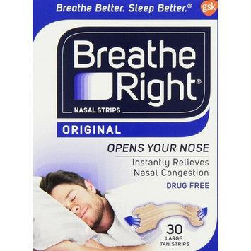 2 Pack Breathe Right, ORIGINAL Nasal Strips 30 LARGE TAN Strips