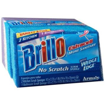 Brillo Estracell Wedge Edge No Scratch Scrub Sponge, 3 Ct