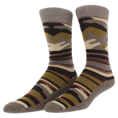 Sof Sole Mens Outdoor Camo Stripe Casual Crew Socks Two Pack Brown One Size