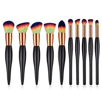 10pcs Makeup Brushes Set Multifunction Powder Foundation Blush Eyeshadow Contour Concealer Brushes for Liquid Cream Buffing Highlight with Premium Synthetic Hair