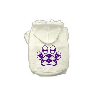 Mirage Pet Products Argyle Paw Purple Screen Print Pet Hoodies Cream Size XXL (18)