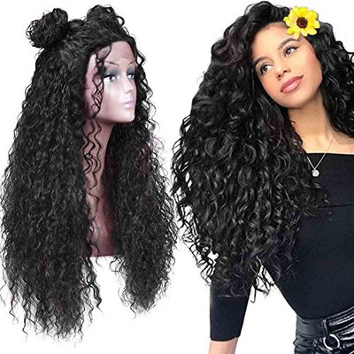 "Armmu 30"" Lace Front Wigs Glueless Long Loose Fluffy Curly Wigs for Women 100% Synthetic Hair Black Wig 1B Free Part 180% Density Wigs"