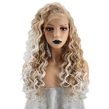 Anogol Hair Cap+Long Kinky Curly White Ombre Blonde Lace Front Wig with Free Part Synthetic Hair Wigs