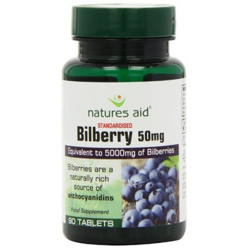 Natures Aid Bilberry 50mg (5000mg equiv), 90 Tablets. Suitable for Vegans.