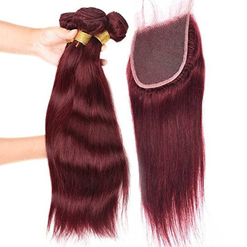 """Black Rose Hair 3 Bundles 10""""12""""14""""With 10 Inch Lace Closure Burgundy Brazilian Straight Human Hair Bundles and 4""""x4""""Lace Frontal Closure Popular 99J# Wine Red Color for Women []"""