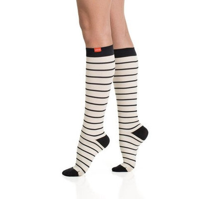 Vim & Vigr Women's Nylon Nautical Stripe Compression Socks Cream/Black