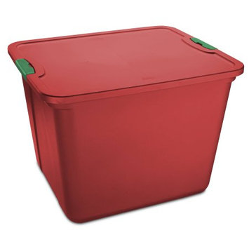 Home Products MAINSTAY 20 GALLON LATCH RED TOTE, GREEN LATCHES, SET OF 8
