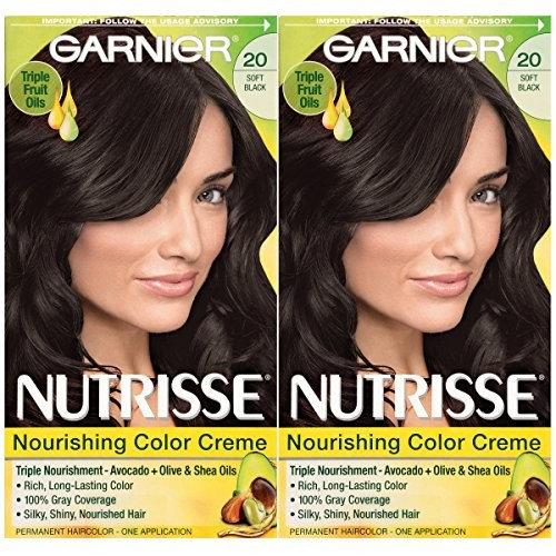Garnier Hair Color Nutrisse Nourishing Creme, 20 Soft Black (Black Tea), 2  Count