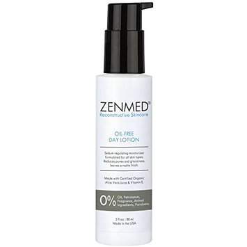 ZENMED Oil-Free Day Lotion - 3 oz. Sebum Moisturizer For All Skin Types Reduces Pores & Greasiness Leaves Matte Finish With Certified Organic Ingredients