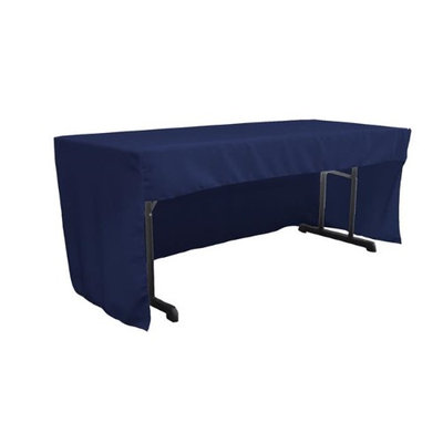 LA Linen TCpop-OB-fit-72x30x30-NavyP72 1.95 lbs Open Back Polyester Poplin Fitted Tablecloth Navy
