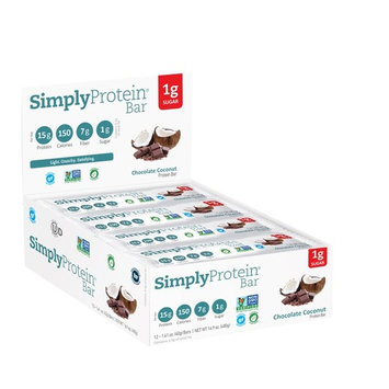 SimplyProtein Bar, Chocolate Coconut, Pack of 12, Gluten Free, Non GMO, Vegan [Chocolate Coconut]