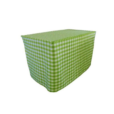 LA Linen TCcheck-fit-72x30x30-LimeK84 Fitted Checkered Tablecloth White & Lime - 72 x 30 x 30 in.