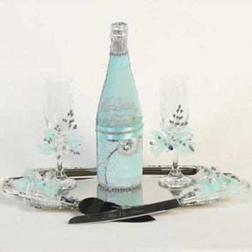 Angels Garment Turquoise Gray 5 pcs Mis Quince Anos Champagne Set