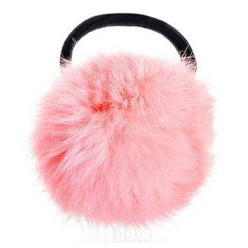 SODIAL(R) Pink Pom Pom Decor Black Stretchy Band Hair Tie Ponytail Hairband
