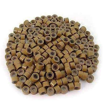 500 PCS 5mm Light Brown Color Silicone Lined Micro Rings Links Beads Linkies For I bonded Tipped Hair Extensions