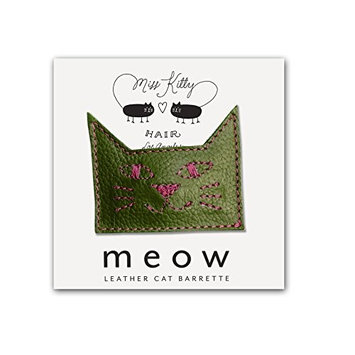 MEOW! Leather Kitty Barrette - Small - Purple