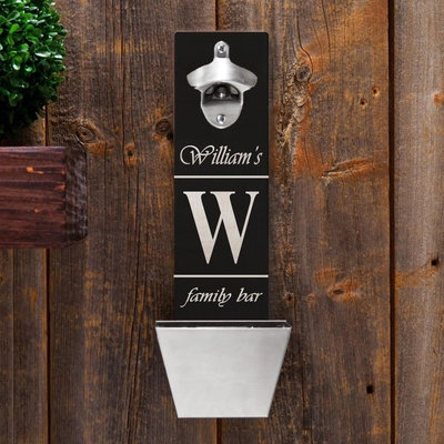 Personalized Wall-Mounted Bottle Opener - Family Bar