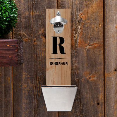 Personalized Wall-Mounted Bottle Opener - Family Initial