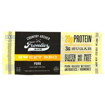Country Archer Jerky, Frontier Bar, Pork, Sweet BBQ Flavor, 12 Bars, 1.5 oz (42 g) Each [Flavor : Pork, Sweet BBQ]