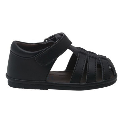 Angel Baby Boys Black Fisherman Strap Bow Sandals Shoes 4 Baby-7 Toddler