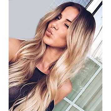 Zenith Golden Brown Ombre Lace Front Wigs for African American Women Dark Rooted Ombre Honey Blonde Wavy Wig 24 inches Long Synthetic Highlights Mixed Blonde Honey Hair with Natural Looking Parting