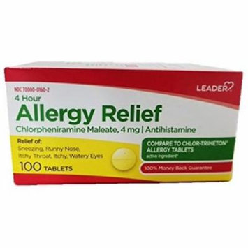 2 Pack - Leader 4 Hour Allergy Relief, 100 ea