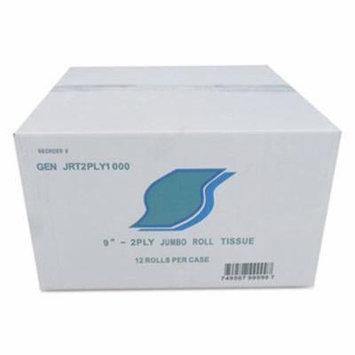 Gen Jumbo Bath Tissue, 2-Ply, White, 9 in Diameter, 12/Carton (GENJRT2PLY1000)