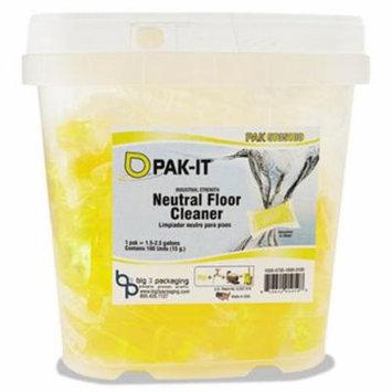 Pak-it Neutral Floor Cleaner, 100 Paks/Tub, 4 Tubs (BIG5735203400CT)