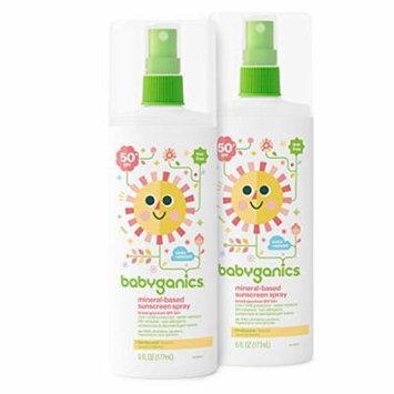 Babyganics Baby Sunscreen Spray, SPF 50, 6oz Spray Bottle (Pack of 2) - 6 Ounce (Pack of 2)