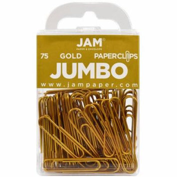 JAM Paper Colored Jumbo Paper Clips - Large 2 - Gold Paperclips - 75/pack