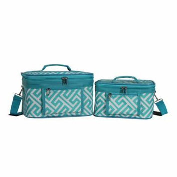 World Traveler Greek Key Collection 2-Piece Train Cosmetic Case Set