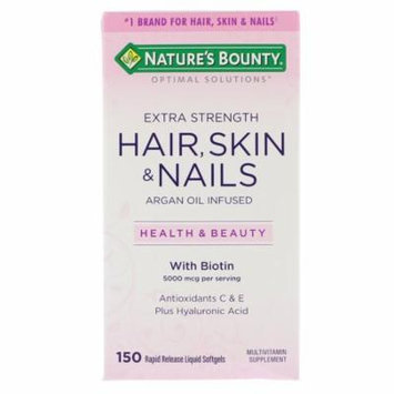 Nature's Bounty, Optimal Solutions, Extra Strength Hair, Skin & Nails, 150 Rapid Release Liquid Softgels(pack of 4)