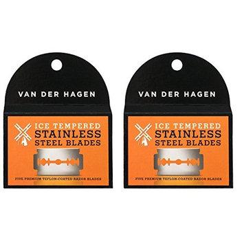 Van Der Hagen Stainless Steel Double Edge Razor Blades 5 Blades (Pack of 2) + FREE LA Cross 71817 Tweezer
