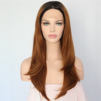 Sapphirewigs Black Root Ombre Brown Glueless Synthetic Lace Front Wig Heat Resistant Hand Tied Lace Front Wig For Women